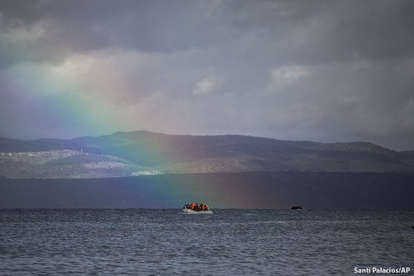 Refugees with rainbow
