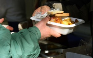 Hot meals are distributed daily to 10,000 people