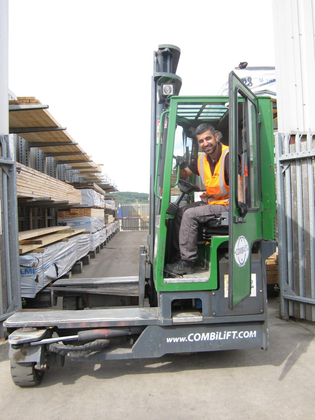 Rasoul Adeli on fork lift truck