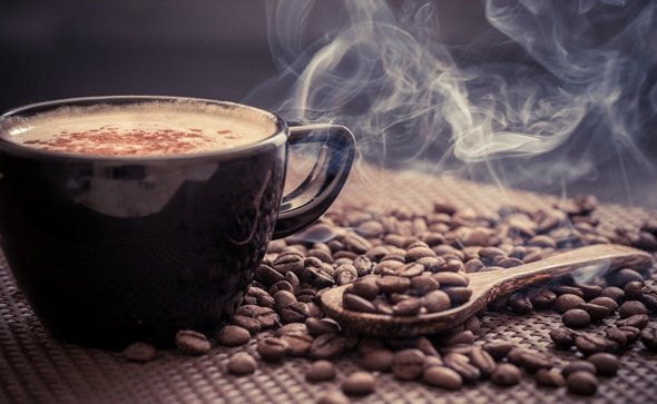 coffee-beans-and-steaming-cup