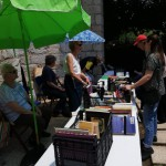 The book stall did brisk business