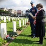 Representatives of the Canadian Embassy pay their respects to the 7 Canadian Servicemen buried in Alimos.
