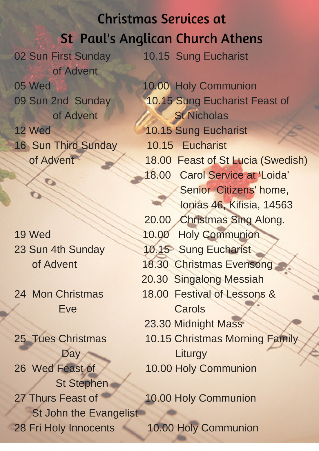 Christmas Services at St Paul's Anglican Church Athens