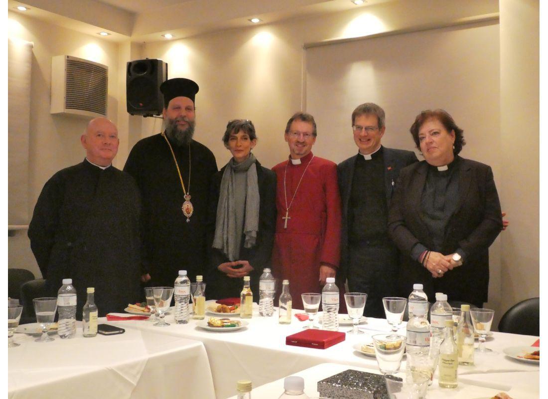L – R: Revd. Canon Leonard Doolan, Metropolitan Gabriel, HE The British Ambassador, Bishop Robert, Revd. Duncan Dormer, Deacon Chris Saccali